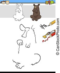 draw and color task with bear - Cartoon Illustration of...
