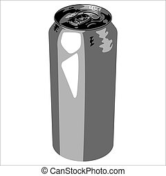 aluminum can - aluminum bank out of drink on a white...