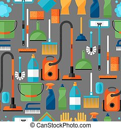 Housekeeping lifestyle seamless pattern with cleaning icons...