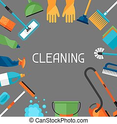 Housekeeping background with cleaning icons Image can be...