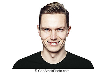 Man with ironic smile - Studio shot of young handsome man...