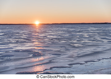 Lake Butte des Morts Ice Sunset - Sunset over a frozen Lake...