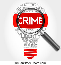 Crime bulb word cloud with magnifying glass, business...