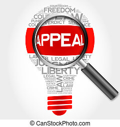 Appeal bulb word cloud with magnifying glass, business...