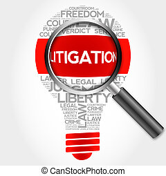 Litigation bulb word cloud with magnifying glass, business...