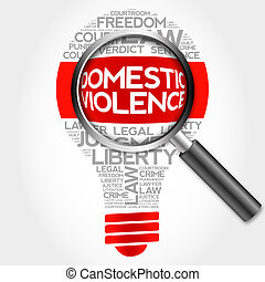 Domestic Violence bulb word cloud with magnifying glass,...