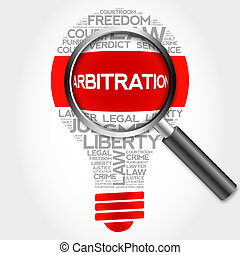 Arbitration bulb word cloud with magnifying glass, business...