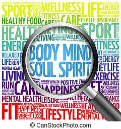 Body Mind Soul Spirit word cloud with magnifying glass,...