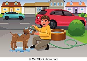 Kid Giving His Dog a Bath