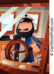 Boat Captain on Duty - A vector illustration of boat captain...