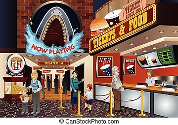 People in a Movie Theater - A vector illustration of people...