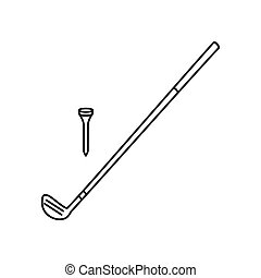 Golf club line icon, thin contour on white background