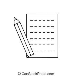 Pencil and sheet line icon, thin contour on white background