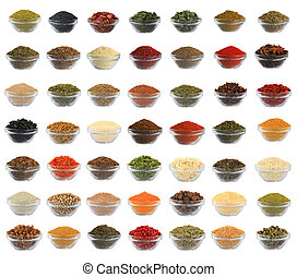 collage spices isolated on a white background