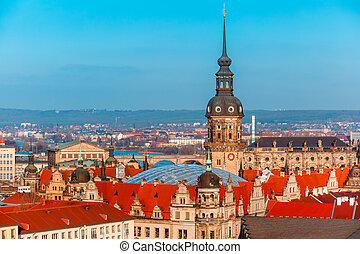 Aerial view of domes and roofs Dresden, Germany - Aerial...