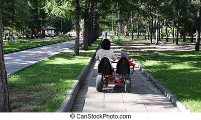 Mother and daughter riding tricycle in the park - Back view...