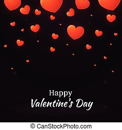 Happy Valentine's Day with hearts, vector holiday background
