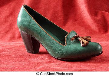 couro, alto, calcanhar, shoe, ,