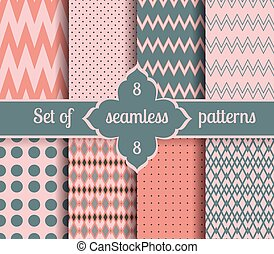 Set rose quartz and serenity geometric Patterns. 2016 colors...
