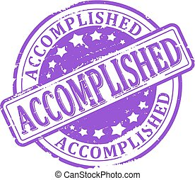 Accomplished - Scratched round purple stamped - Accomplished...