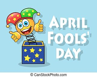 fun April Fools' Day - cheerful yellow smiley face in a...