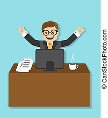 joyful businessman sitting - Happy businessman sitting at a...