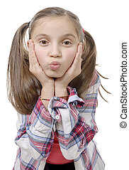funny little girl making faces - a funny little girl making...