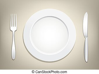 plate fork knife - Empty plate, knife and fork on a light...