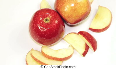 Rotating Red Apple - Overhead - apples rotation on the...