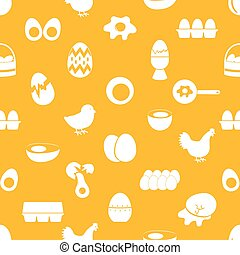 set of egg theme icons seamless pattern eps10