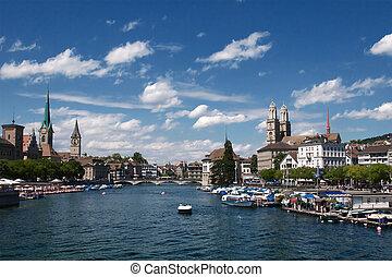 Zurich - Summer view of the Zurich downtown