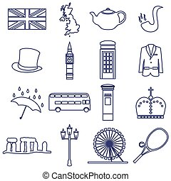 United Kingdom country theme outline icons set eps10