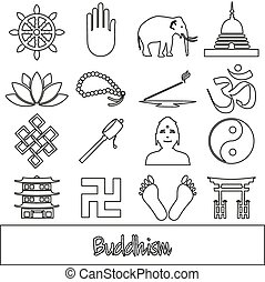 buddhism religions outline symbols vector set of icons eps10