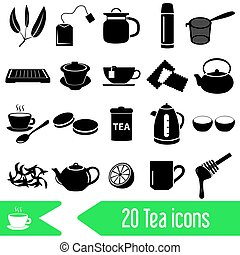 tea theme black simple icons set eps10