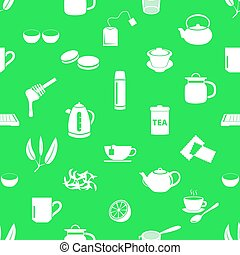 tea theme simple icons seamless pattern eps10