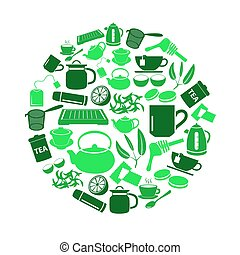 tea theme green simple icons set in circle eps10