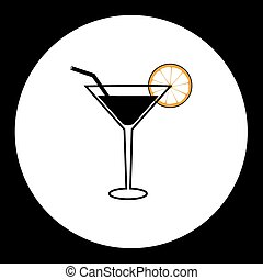 cocktail alcohol drink with lemon and straw simple icon...