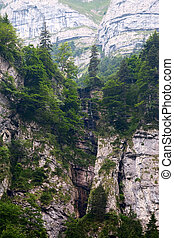 Cliffs covered with trees near Ebenalp, Switzerland