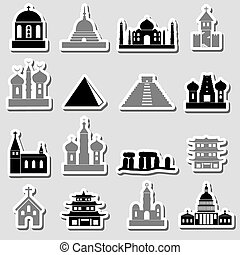 värld, Religioner, slagen, av, tempel,...