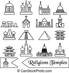 world religions types of temples outline icons eps10