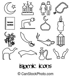 islamic religion simple outline black icons set eps10