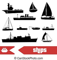 various transportation navy ships icons set eps10