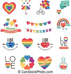 Gay Valentines day icons and elements