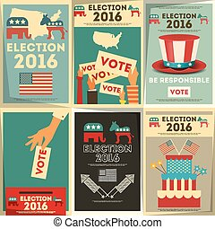 Presidential Election Voting Poster Set Vector Illustration...
