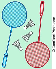 Badminton - Illustration of the badminton rackets and...