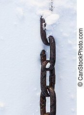 Strong chain in snow close-up - Strong chain partially...
