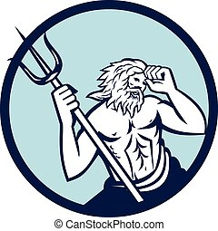 Poseidon Trident Circle Retro - Illustration of poseidon god...