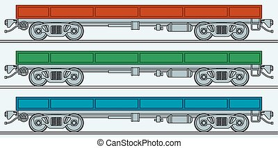 Flatcar - Illustration of the flatcar wagon icon