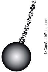 Weight and chain - Illustration of the weight ball with...