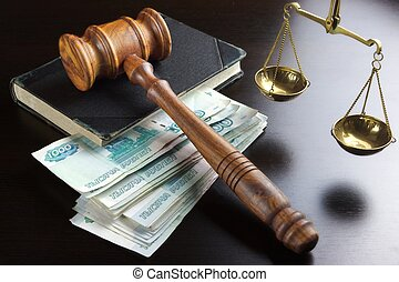 Judges Gavel,  Scale, Old Book And  Russian Cash On Table